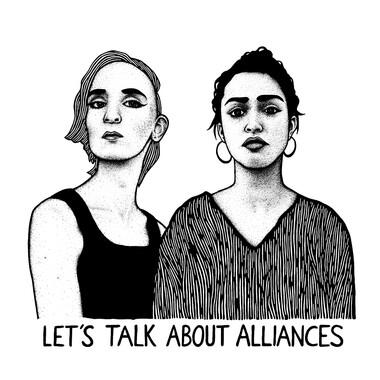 """Zeichnung von Mine Wenzel und Arpana Berndt mit dem Schriftzug: """"Let´`'s talk about alliances""""."""
