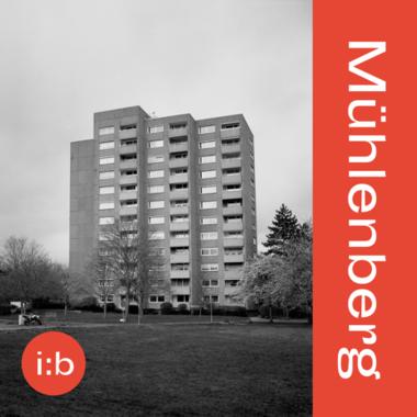 Ein Hochhaus und ein Schriftzug: Mühlenberg, i:b
